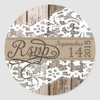 Wood and Lace Rustic RSVP Label