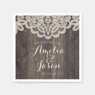 Wood and Lace Wedding Napkins Bridal Shower
