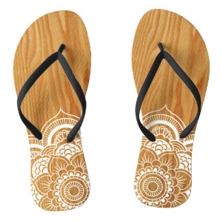 Wood and Mandala Flip Flops