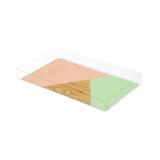 Wood and Pastel Abstract Acrylic Tray