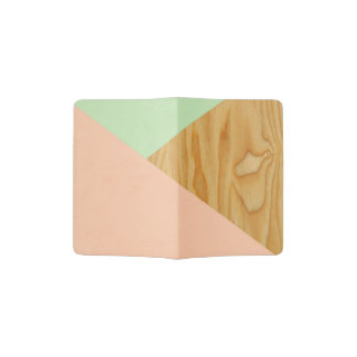 Wood and Pastel Abstract Passport Holder