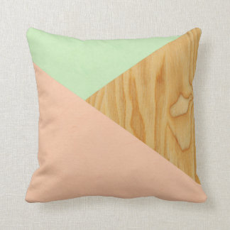 Wood and Pastel Abstract pattern Throw Pillow