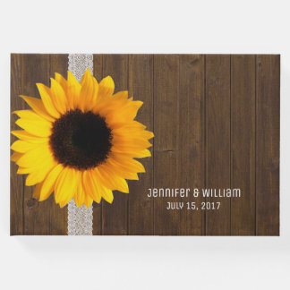 Wood and Sunflower Wedding Guest Book