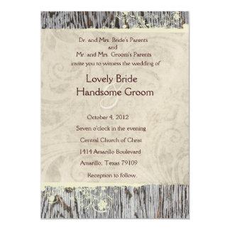 Wood and Vintage Shabby Chic Wedding Invitation