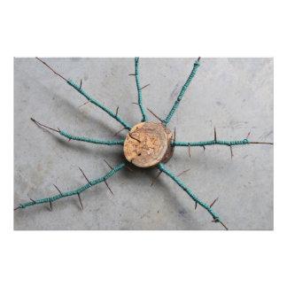 Wood & Aqua Jute String Nature Sculpture Centered Photo Print