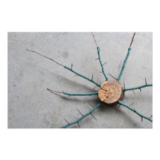 Wood & Aqua Jute String Nature Sculpture Oblique Photo Print