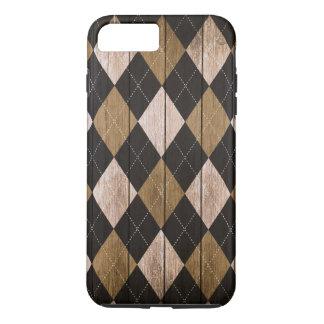 Wood Argyle Pattern Black White (Diamond Pattern) iPhone 8 Plus/7 Plus Case