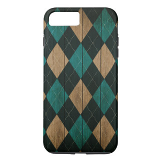 Wood Argyle Pattern Turquoise (Diamond Pattern) iPhone 8 Plus/7 Plus Case