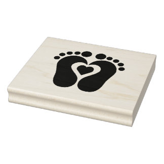 Wood Art Stamps/Footprints with Heart Rubber Stamp