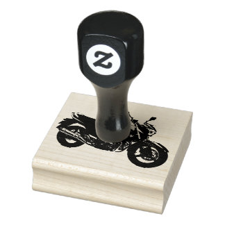Wood Art Stamps/Motorcycle Rubber Stamp