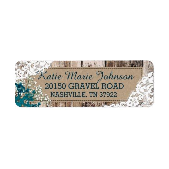 Wood Baby's Breath Lace Rustic Wedding Label