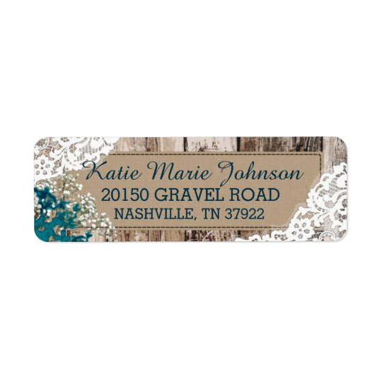 Wood Baby's Breath Lace Rustic Wedding Label Return Address Label