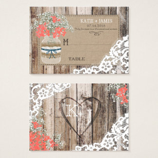 Wood Baby's Breath Lace Rustic Wedding Place Cards