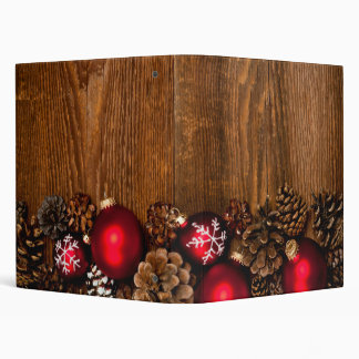 Wood background with Christmas ornaments Binder