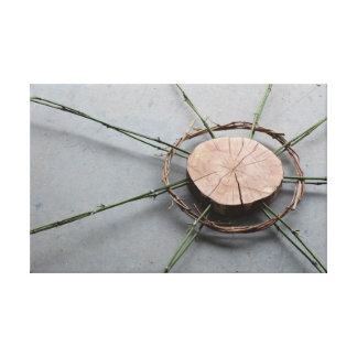 Wood Bamboo & Vine Eco-Art Sculpture Oblique Photo Canvas Print