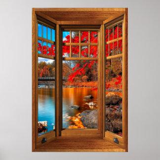 Wood Bay Window Autumn Scenery - Illusion Poster