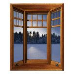 Wood Bay Window Winter Landscape - Illusion Poster
