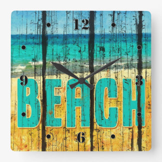 Wood Beach Sign Style Wall Clocks
