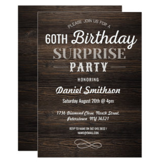 Wood Birthday Surprise Rustic Mens Womens Invite