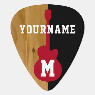 wood / black cool personalized guitar pick