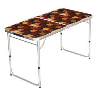 Wood block pattern beer pong table