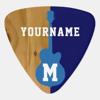 wood / blue cool personalized pick