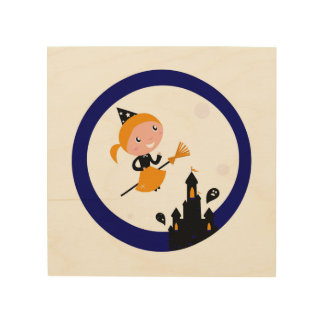 Wood board with Witch drawing Wood Canvases