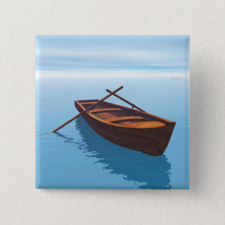 Wood boat - 3D render 2 Inch Square Button