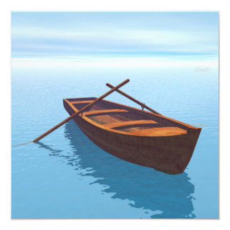 Wood boat - 3D render Card