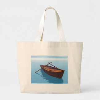 Wood boat - 3D render Large Tote Bag