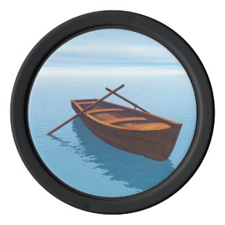 Wood boat - 3D render Poker Chips