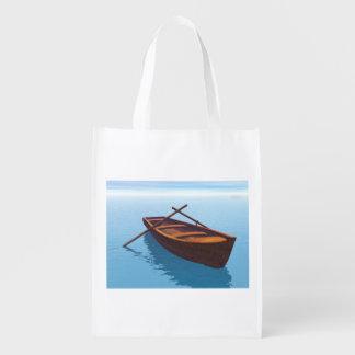 Wood boat - 3D render Reusable Grocery Bag