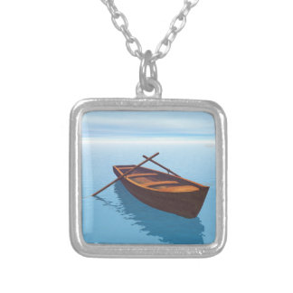 Wood boat - 3D render Silver Plated Necklace