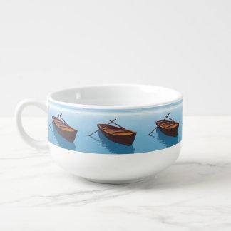 Wood boat - 3D render Soup Mug