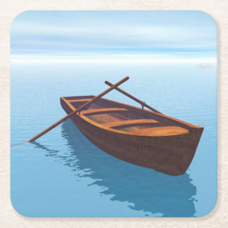 Wood boat - 3D render Square Paper Coaster