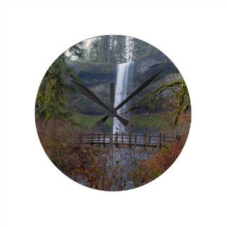 Wood Bridge on Hiking Trail at Silver Falls OR Round Clock
