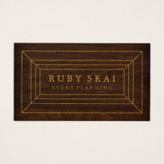 Wood Brown and Gold Gemstone Chic Business Card