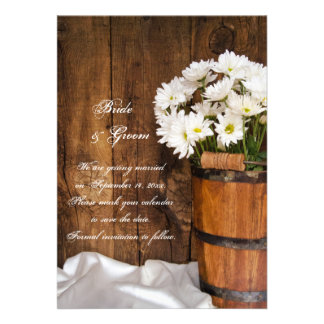 Wood Bucket Daisies Country Wedding Save the Date Personalized Invitations