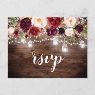 Wood Burgundy Floral Mason Jar String Lights RSVP Invitation Postcard