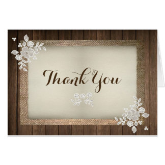 Wood, Burlap & Lace Wedding Thank You Card