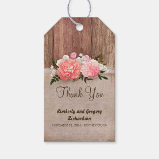 Wood Burlap Pink Flowers Rustic Country Wedding Gift Tags