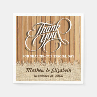 Wood Burlap Thank You Wedding Paper Napkins