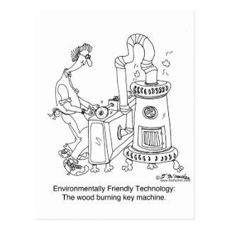 Wood Burning Key Machine Postcard