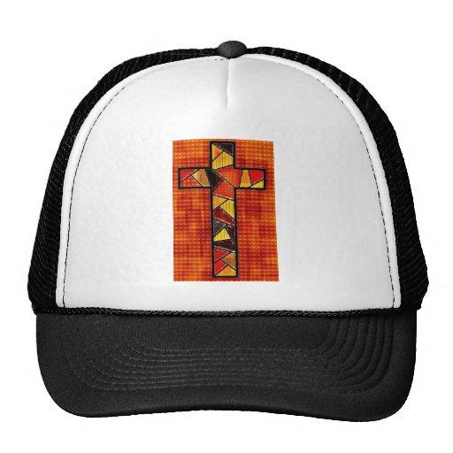 Wood Burnt Cross Mesh Hat