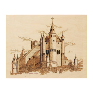 Wood Canvas - Alcazar - castle - sepia
