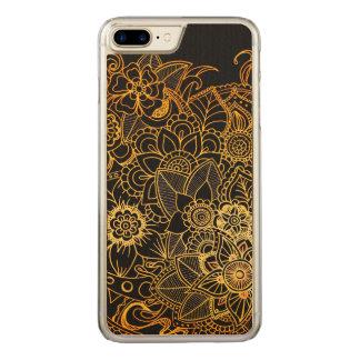 Wood Case iPhone7 Plus Floral Doodle Gold G523