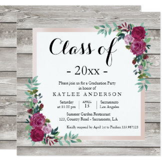 Wood chic Graduation Party invitation