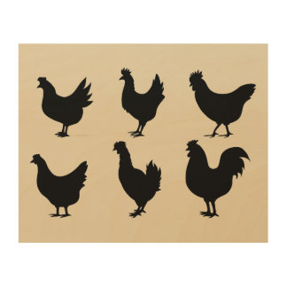 Wood Chicken Silhouette Art