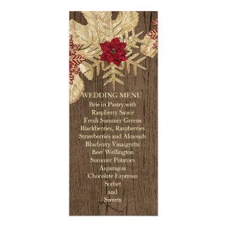 "Wood Christmas Star Wedding Menu 4"" X 9.25"" Invitation Card"
