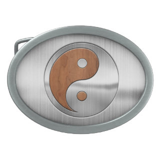 Wood Chrome Yang Belt Buckle